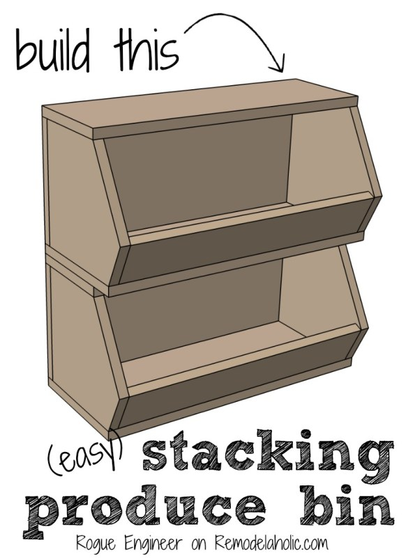Build this easy stacking produce bin to organize fruits and vegetables on a pantry shelf or countertop. Perfect weekend project for a beginner!