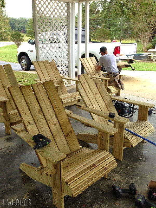 Building Adirondack Chairs by Little White House Blog featured on @Remodelaholic