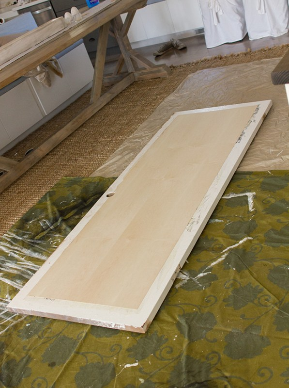 Create a 5 Panel Wood Door from a Hollow Core Door by Jenna Sue Design Co featured on @Remodelaholic