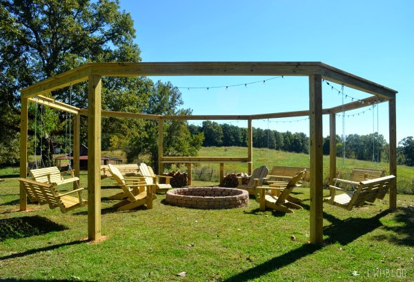 Create a Wonderful Outdoor Space with a Pergola and Fire Pit by Little White House Blog featured on @Remodelaholic