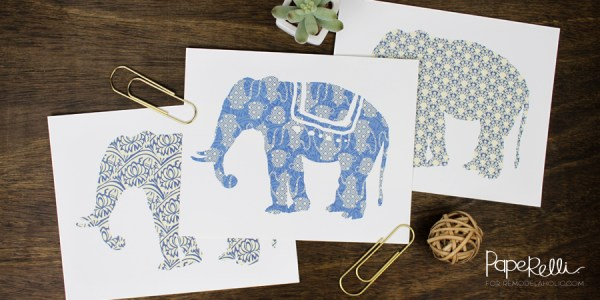 Free Elephant Silhouette Prints | designed by Paperelli for Remodelaholic.com