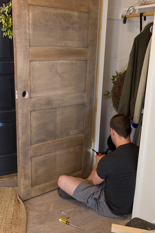 Give a Plain Door a Wood Panel Upgrade by Jenna Sue Design Co featured on @ & Remodelaholic | 5 Panel Door from a Flat Hollow Core Door