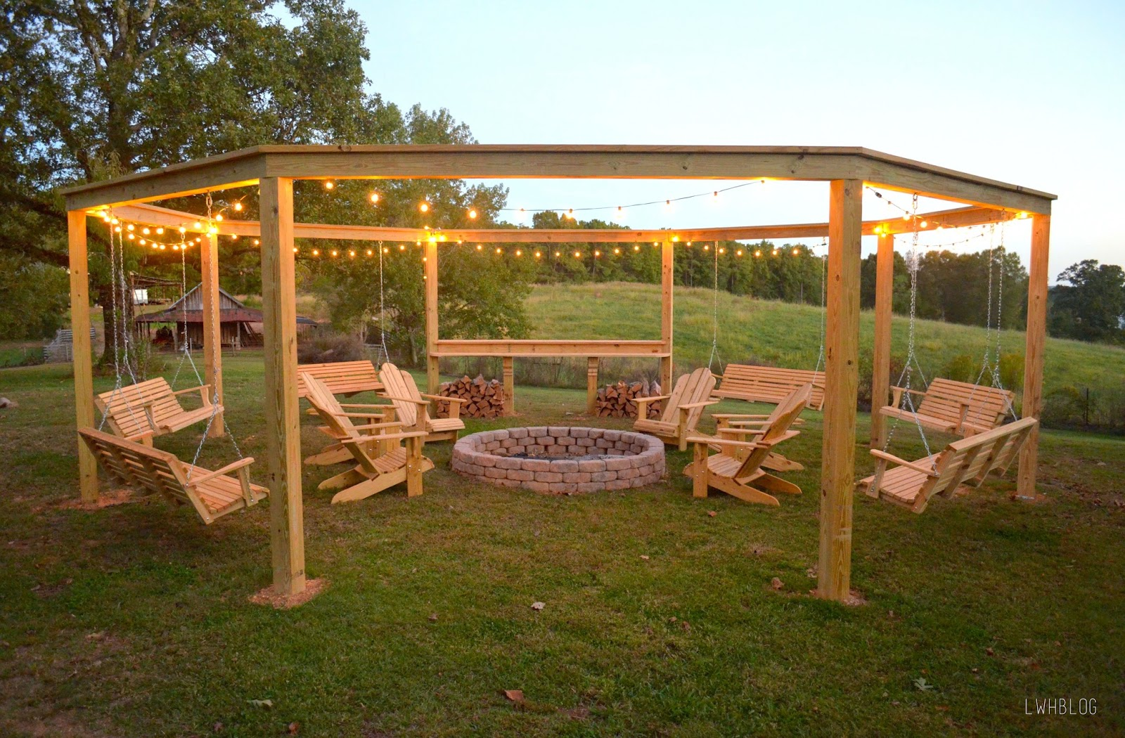 patio with fire pit and pergola. How To Build A Pergola With Fire Pit By Little White House Blog Featured On Patio And T