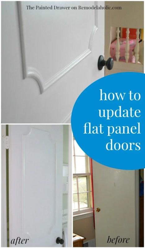 Plain flat door into a stylish paneled door -- pretty easy and inexpensive way to update a door!