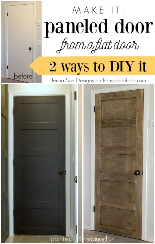 Make a 5 panel door from a flat door - Jenna Sue Designs on @Remodelaholic