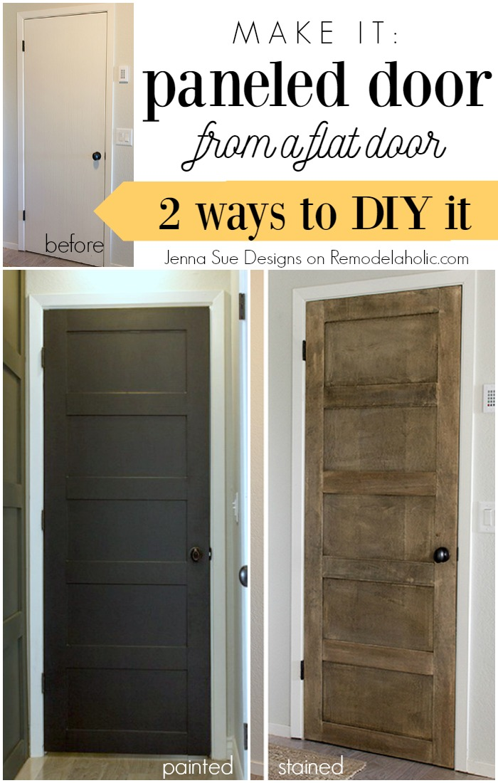 Make a 5 panel door from a flat door - Jenna Sue Designs on @Remodelaholic & Remodelaholic | 5 Panel Door from a Flat Hollow Core Door