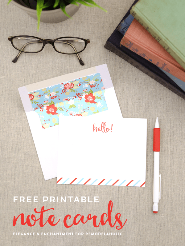 Free Printable Note Cards // Set of four colorful flat cards // Designed by Elegance & Enchantment for Remodelaholic.com