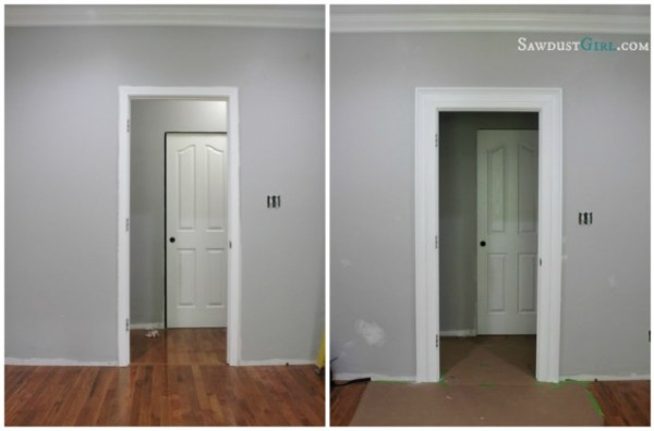 add molding to create thicker chunky door trim and frame - Sawdust Girl