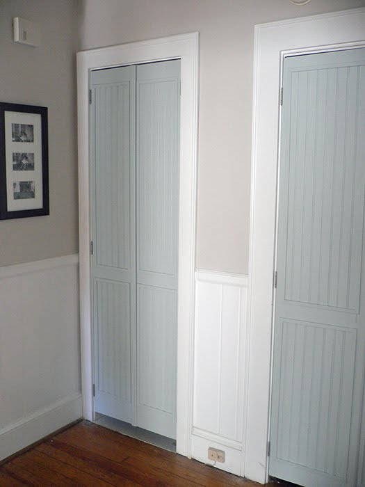 louvered to beadboard closet doors - Vintage Simple Home & Remodelaholic | 40+ Ways to Update Flat Doors and Bifold Doors