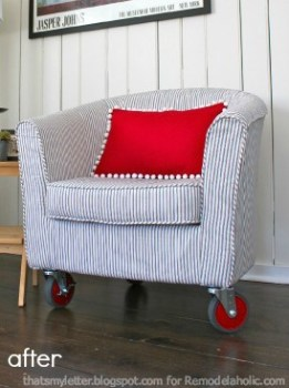 reupholstered tub chair via @Remodelaholic