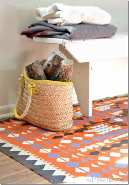 stamped dropcloth rug