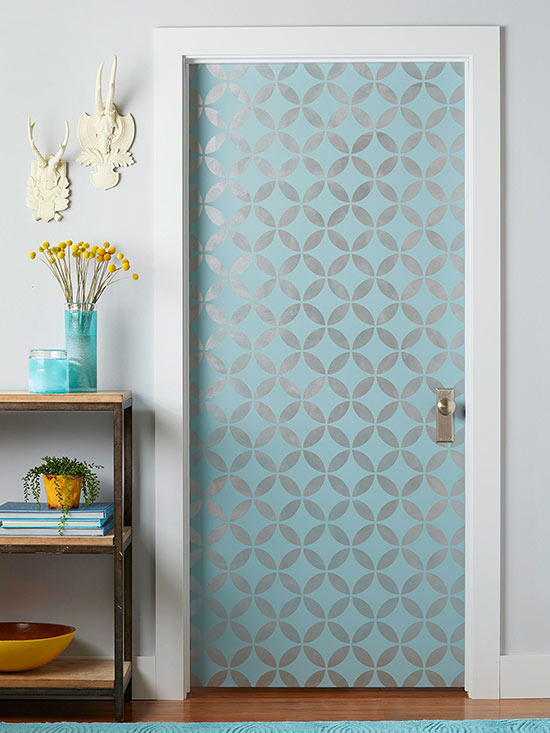 stenciled painted door via BHG