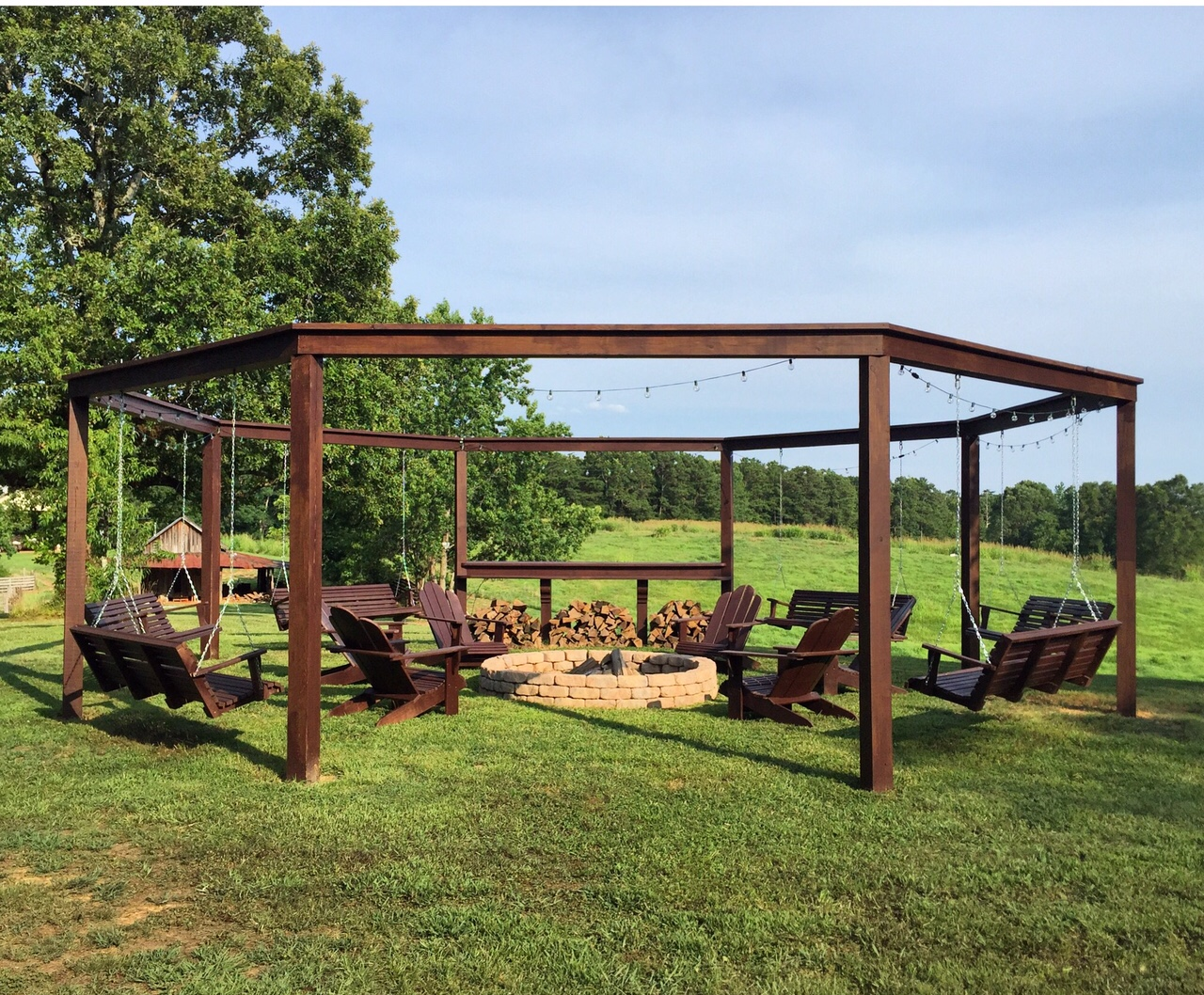 This is the perfect outdoor retreat for summer! (and spring and fall too! - Remodelaholic Tutorial: Build An Amazing DIY Pergola And Firepit