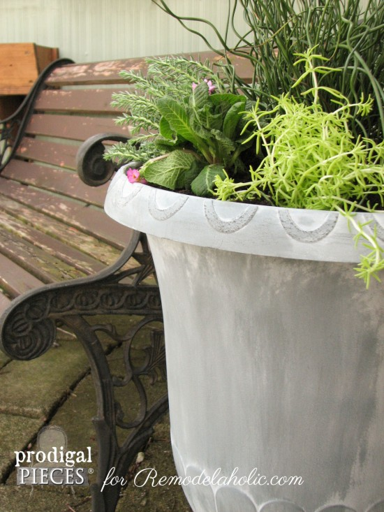 DIY Faux Zinc Finish on a Garden Urn Planter by Prodigal Pieces for Remodelaholic
