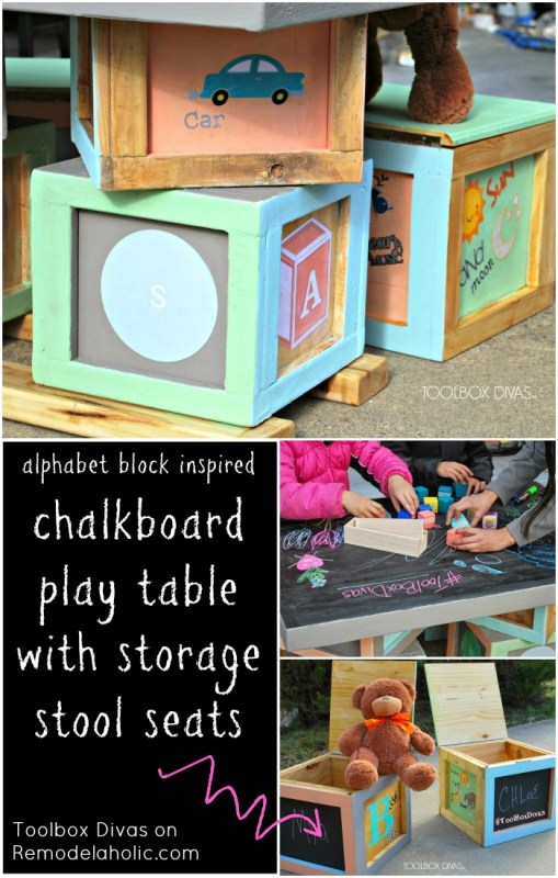 Build an Alphabet Block Chalkboard Table with Block Stool Storage Seats @Remodelaholic
