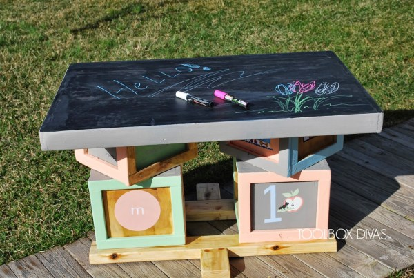 DIY Building Block Playtable with Chalkboard Top by ToolBox Divas for Remodelaholic