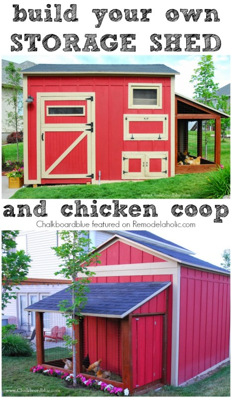 DIY Chicken Coop with Attached Storage Shed - looks great and keeps the chickens safe!