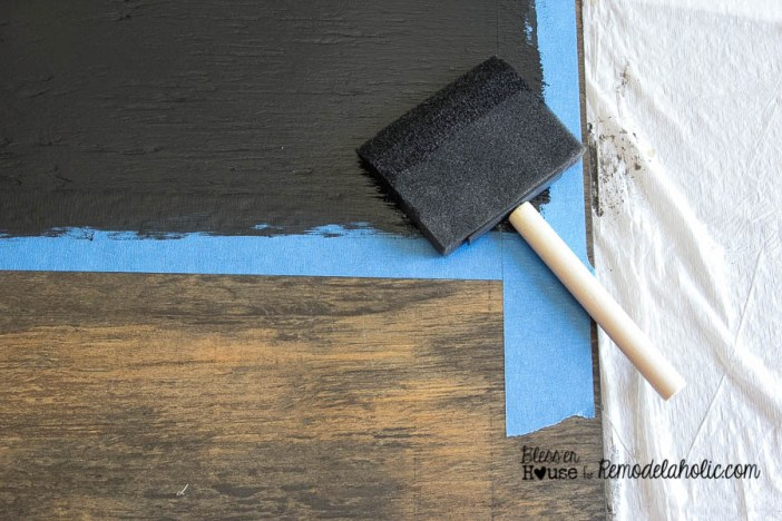 Use a foam brush for a smooth painted chalkboard finish - DIY Locker Basket Mail Organizer
