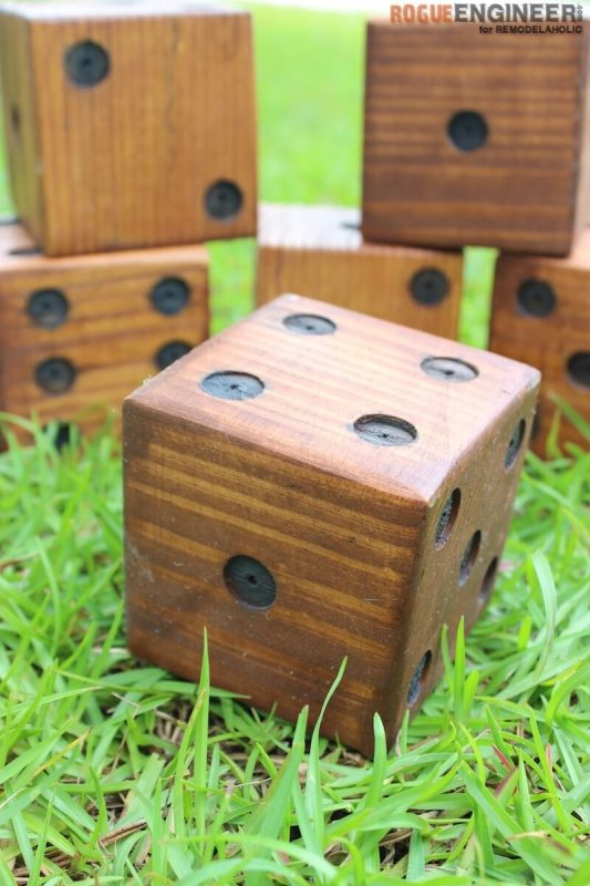 DIY Yard Dice Tutorial -- this is so simple, but so fun! Play lots of different games, for all ages. And I have scraps that can make this a free project!