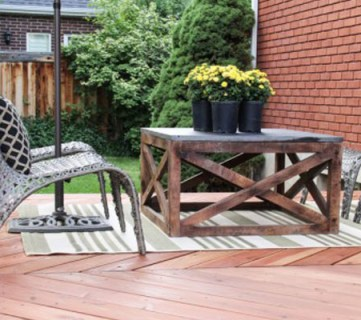 Build an Outdoor Coffee Table with X Base