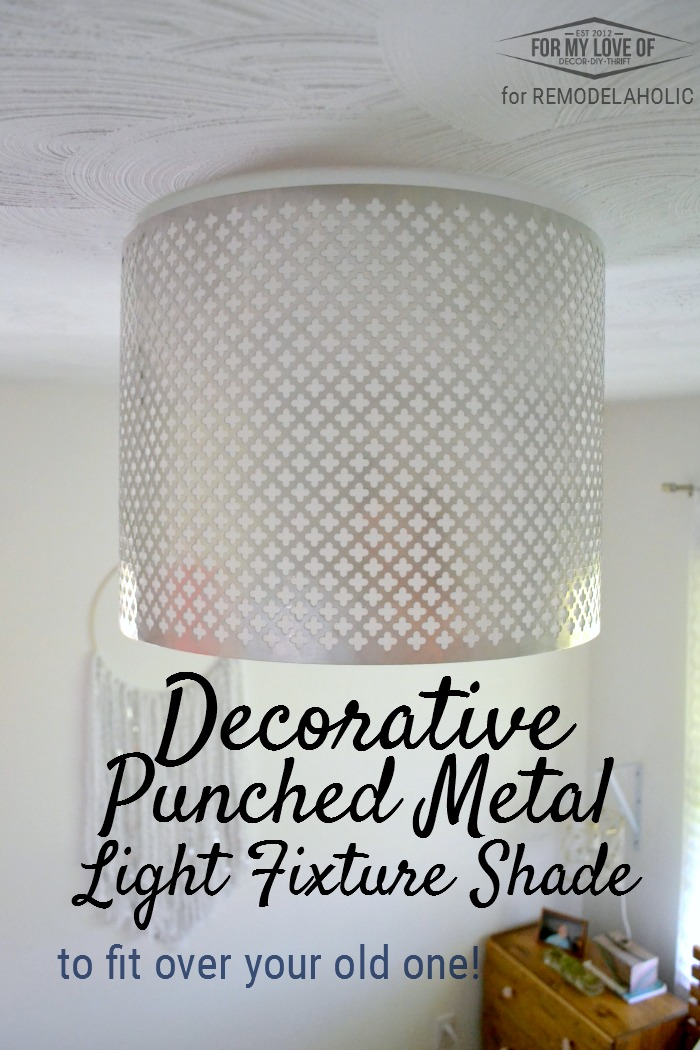 Remodelaholic decorative punched metal ceiling light shade dress up a basic builder grade light with a diy punched metal ceiling light shade aloadofball Gallery
