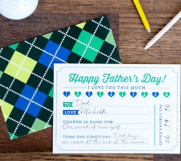 Free Printable Coupons for Father's Day! Print a bunch and present dad with a meaningful and unique gift. // Design by Elegance & Enchantment for Remodelaholic