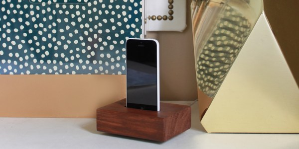 2x4 wood projects, DIY modern wooden phone stand on Remodelaholic.