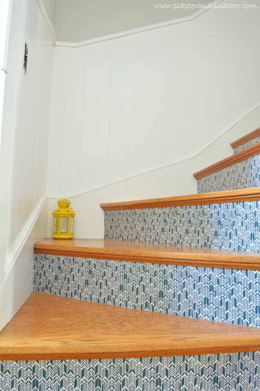Transforming Stairs with Fabric by Plaster and Disaster featured on @Remodelaholic