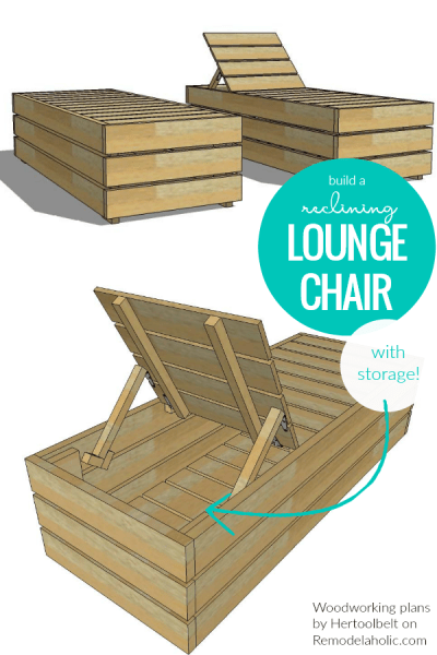 Diy Lounge Chair Recliner With Storage, Easy Outdoor Woodworking Plans Remodelaholic