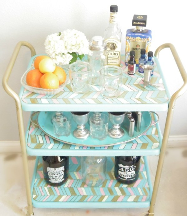 herrinbone bar cart makeover - Addison Meadows Lane