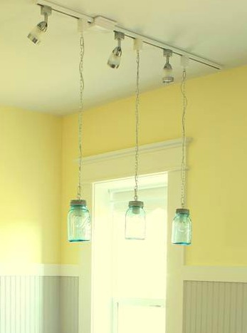 mason jar pendant lights over kitchen island @Remodelaholic