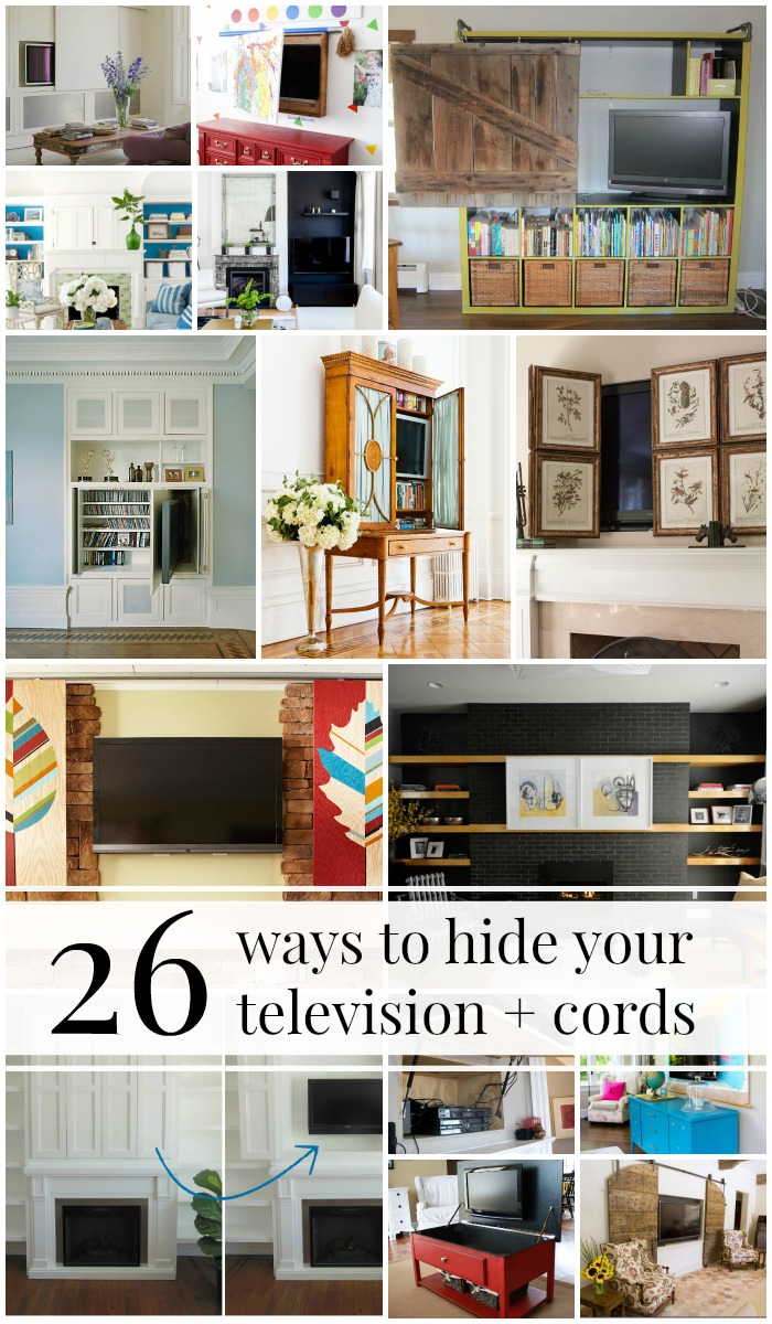 Hide your tv Bookcase 95 Ways To Hide Or Decorate Around The Tv Electronics And Cords Theblbrcom Remodelaholic 95 Ways To Hide Or Decorate Around The Tv