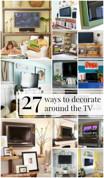 27 ideas for decorating around the TV! plus gallery walls and other techniques to hide the television @Remodelaholic