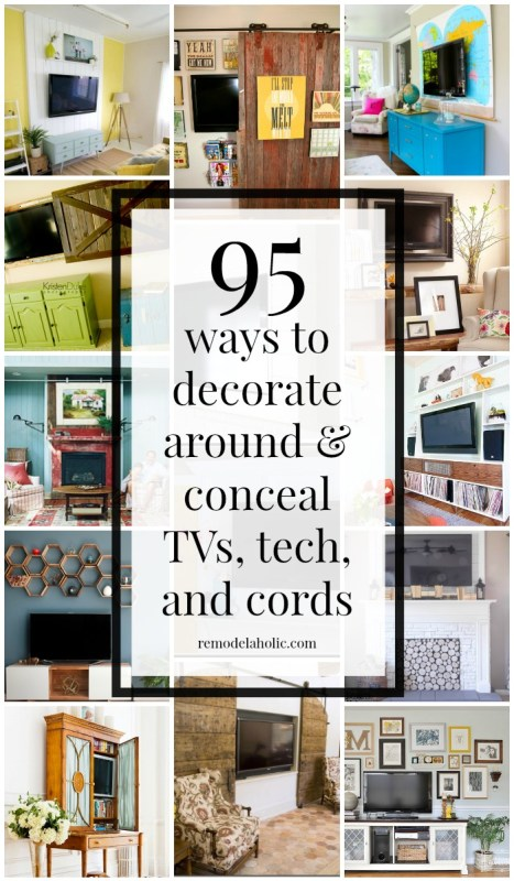 95 Ways to Decorate Around or Hide-Disguise a Television, Electronics, and Cords @Remodelaholic