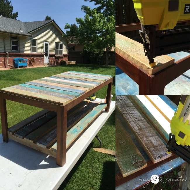 Adding painted pallet planks to coffee table
