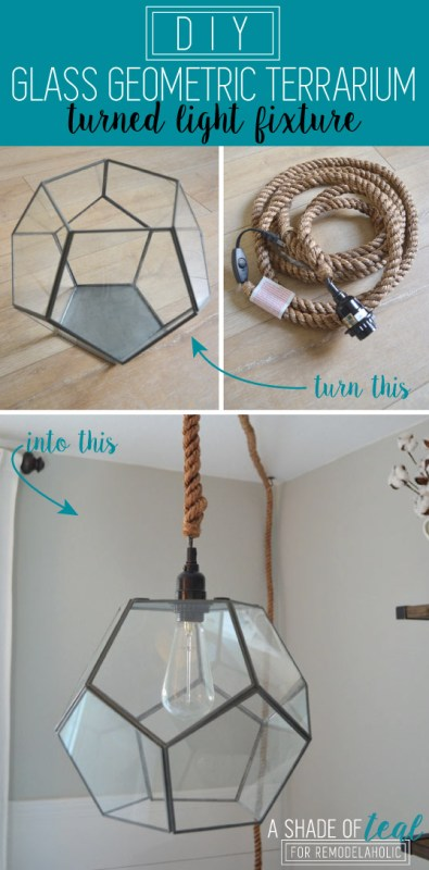 DIY Geometric Terrarium Light by A Shade of Teal featured on Remodelaholic