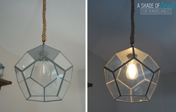 How to Make a Light Fixture from a Terrarium by A Shade of Teal featured on Remodelaholic