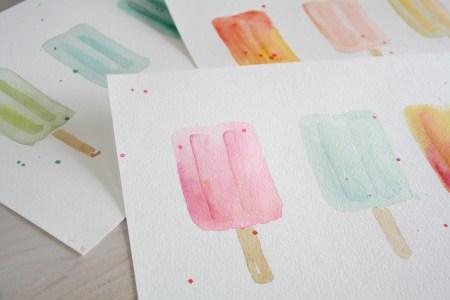 popsicle watercolor prints