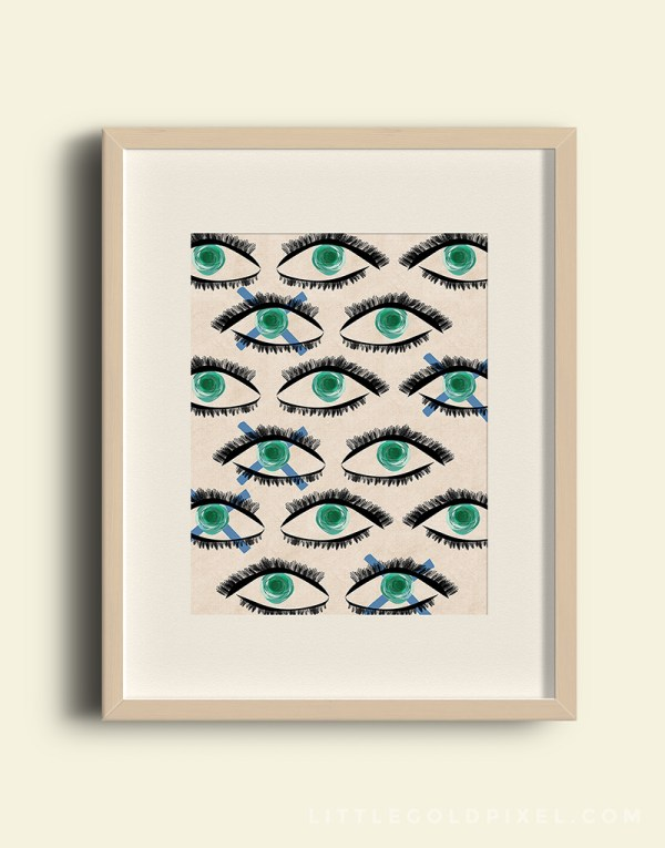 Free Download: Kaleidoscope Eyes, modern art printable by Little Gold Pixel for Remodelaholic