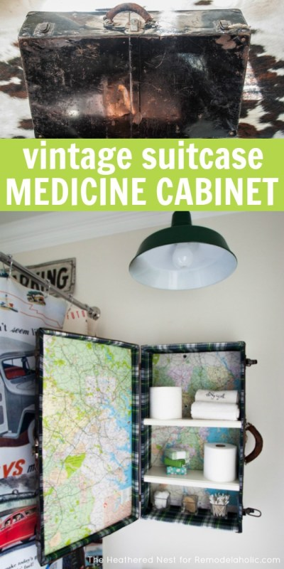 Make an awesome and unique DIY medicine cabinet from a vintage suitcase! Just added to this to my to do and to thrift list @Remodelaholic
