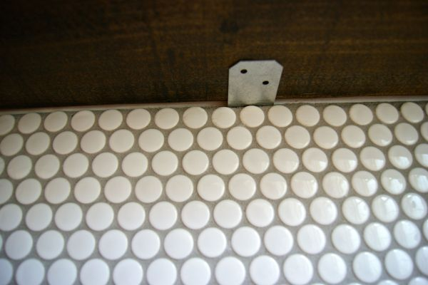 DIY penny tile backsplash install