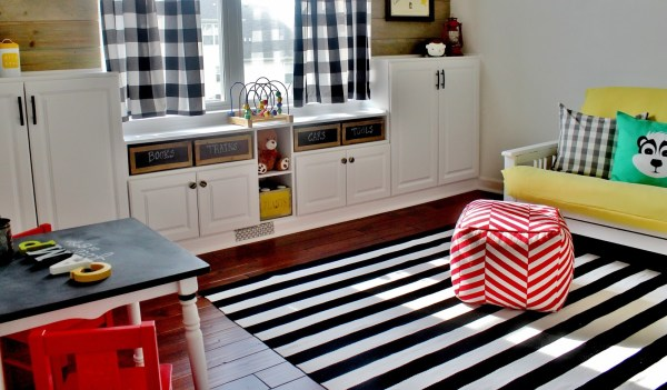 Playroom Makeover with Built-In Cabinet Tutorial by Delightfully Noted featured on Remodelaholic