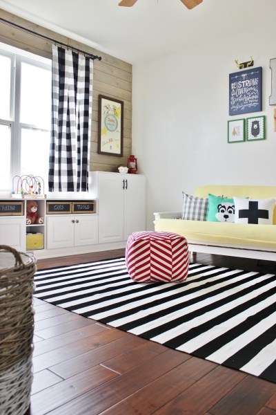 Playroom Makeover with Built-In Cabinets for Storage by Delightfully Noted featured on Remodelaholic