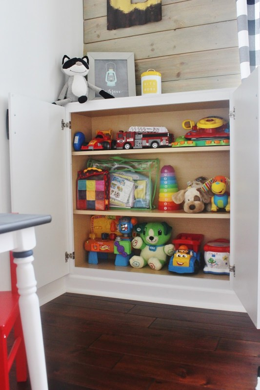 Remodeled Playroom with Built-In Storage by Delightfully Noted featured on Remodelaholic
