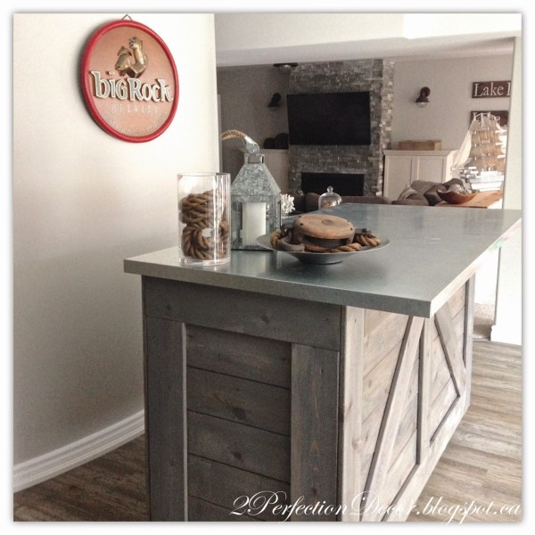Rustic Bar with Galvanized Counter Top Tutorial by 2Perfection Decor Blog featured on Remodelaholic