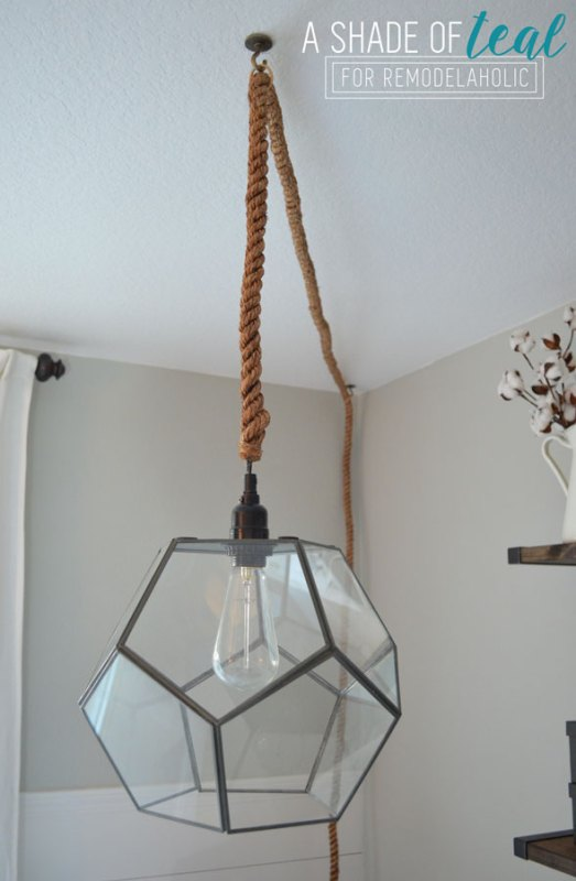 How to make a geometric pendant light -- easy DIY, for less than half of what you'd pay for a similar light fixture!