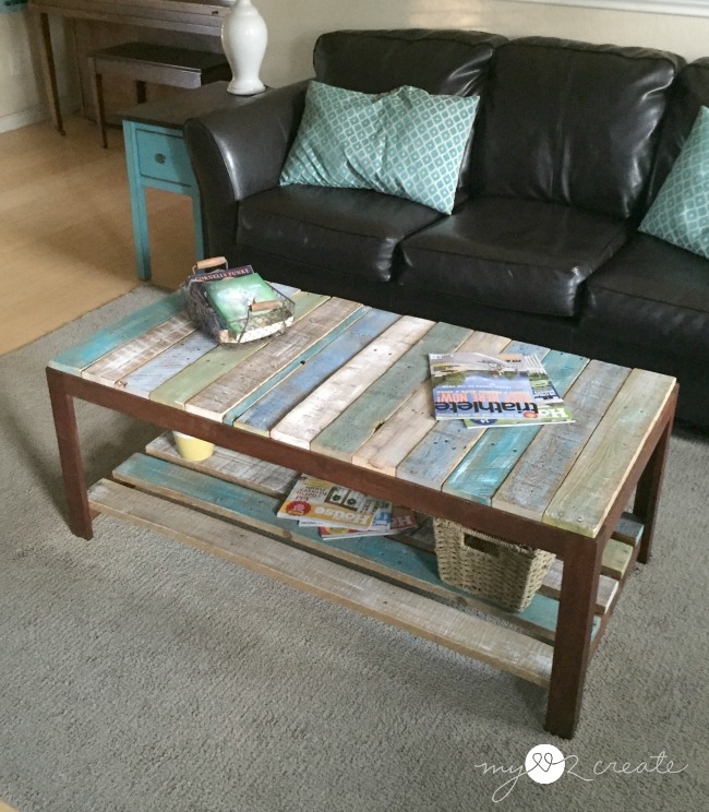 Top view of converted glass to pallet coffee table