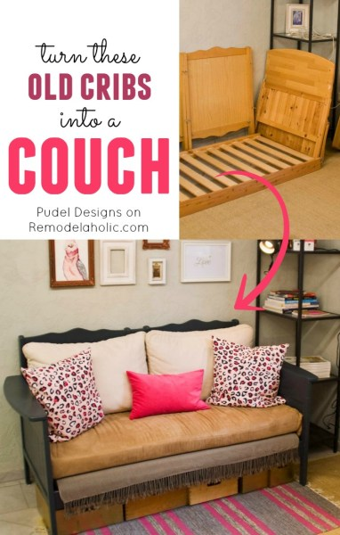 Upcycle a pair of old cribs into a sofa @Remodelaholic