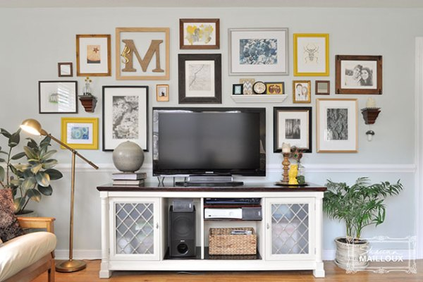 balanced gallery wall to disguise a tv (Beautiful Matters)