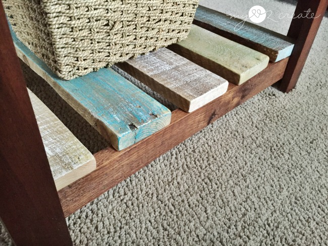 bottom shelf made with pallet planks